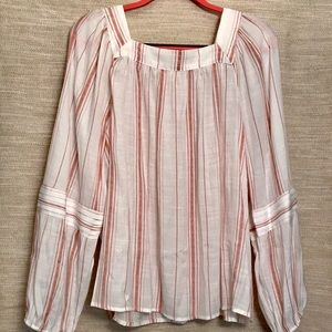 Adorable Flowy Vertical Striped Long-sleeve Blouse